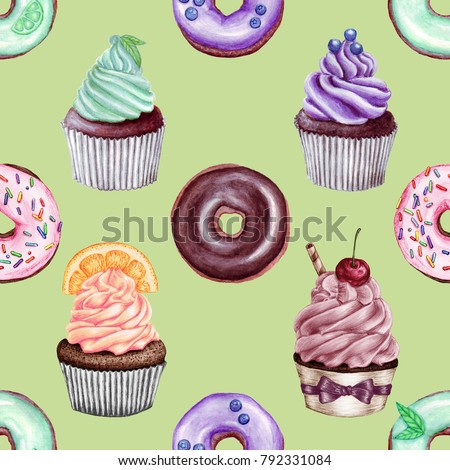 Hand drawn colorful seamless pattern of donuts and cupcakes. Instruments: watercolor, pencils.
