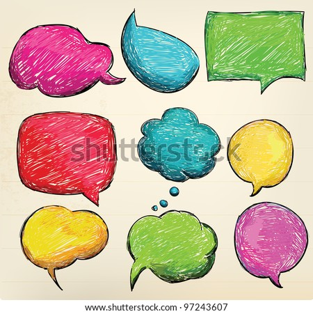Hand-drawn, colorful speech bubbles