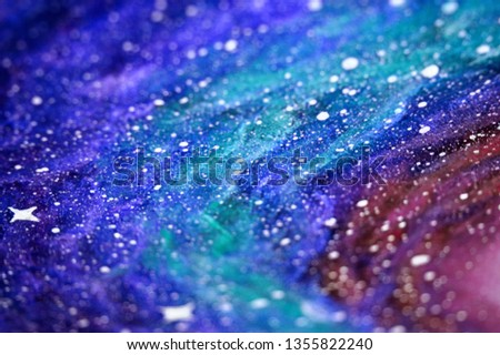 Hand drawn cosmos with stars. Cosmic background. Cosmic texture. Blue, turquoise and purple
