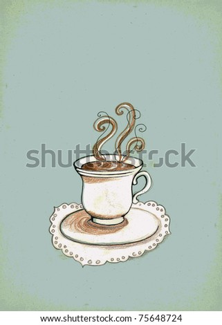 Hand drawn cup of coffee on blue grungy background with empty space for your text