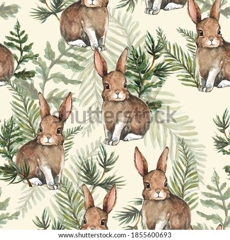 Hand drawn cute rabbit and leaves watercolor seamless pattern illustration background woodland bunny