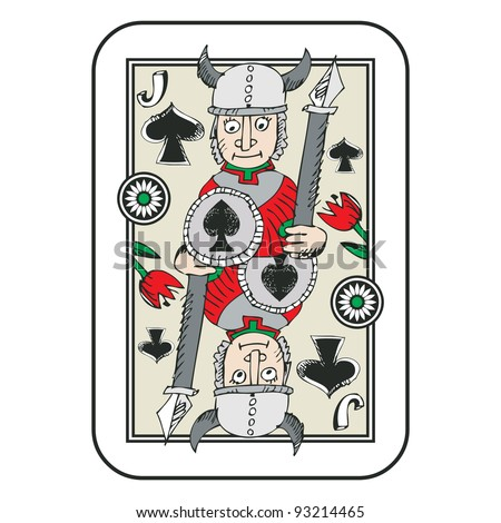 hand drawn deck of cards, doodle jack of spades isolated on white background