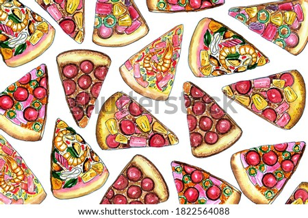 hand drawn delicious pizza piece background in doodle art style with watercolor painting