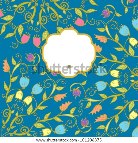Hand drawn doodle floral ornamental background in bright colors. Raster.
