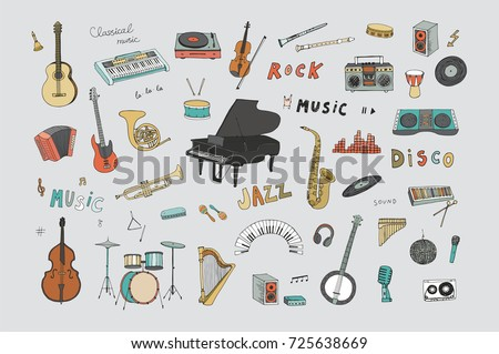 hand drawn doodle musical...