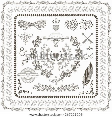 Hand-Drawn Doodle Seamless Borders and Design Elements Decorative Flourish Frames Wreaths Laurels Illustration Pattern Brushes
