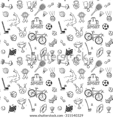 Hand drawn doodle sport seamless pattern.