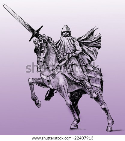 Hand drawn drawing of the statue of El Cid in Burgos, Spain. El Cid is the Spanish national hero. Monochrome on purple background