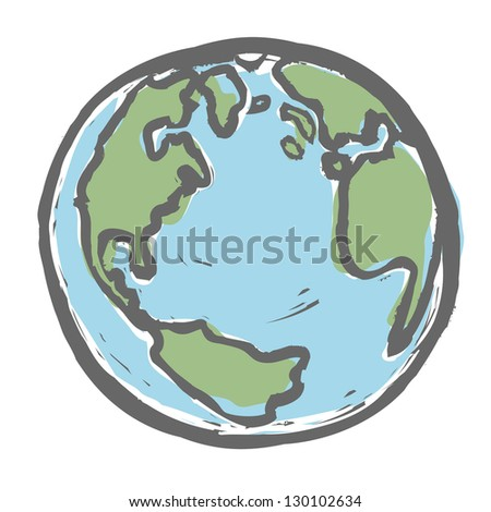 Hand drawn earth. Raster version, vector file available in portfolio.