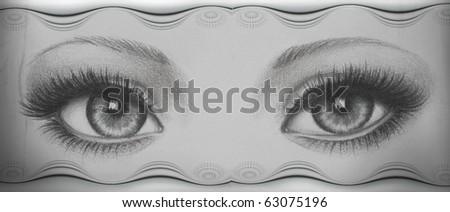 hand drawn eyes with fine border
