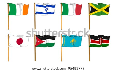 Hand-drawn Flags of the World - letter I, J & K - stock photo