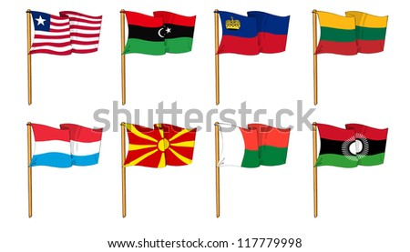 Hand-drawn Flags of the World - letter L & M