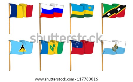 Hand-drawn Flags of the World - letter R & S #117780016