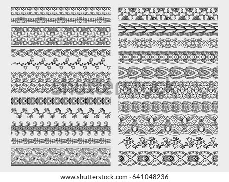 Hand drawn floral borders. Doodle borders set #641048236