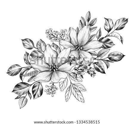 Hand drawn floral bunch with various big and small   flowers isolated on white background. Pencil drawing monochrome elegant flower composition in vintage style.