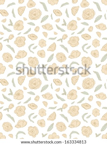 Hand Drawn Floral Repeating Background. Repeating Rose Pattern. Shabby Chic Rose Pattern. Hand Drawn Roses.