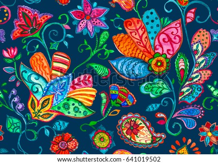 Hand drawn flower seamless pattern (tile). Colorful seamless pattern with cute rainbow whimsical flowers, paisley, raspberry. Watercolor seamless pattern for textile. Dark navy blue background.
