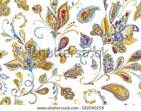 Hand drawn flower seamless pattern (tile). Colorful seamless pattern with pargeting grunge whimsical flowers, paisley, raspberry. Watercolor pattern for textile. Isolated on a white background.
