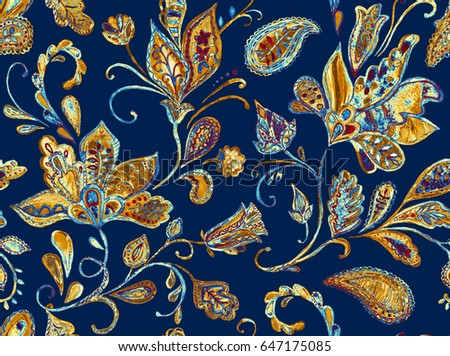 Hand drawn flower seamless pattern (tile). Colorful seamless pattern with pargeting grunge whimsical flowers, paisley, raspberry on navy blue background. Watercolor seamless pattern for textile.