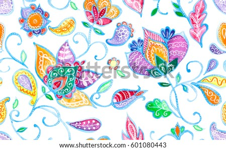 Hand drawn flower seamless pattern (tile). Colorful seamless pattern with rainbow whimsical flowers, paisley, buta. Watercolor seamless pattern for textile. Isolated objects on a white background