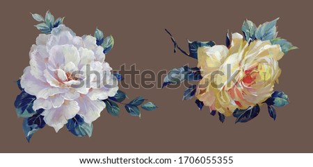 Hand-drawn flowers, retro, classic, Oil painting flower