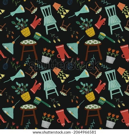 Hand drawn gouache painted seamless pattern with kitchenware and house elements for furniture and curtain textile or wrapping paper.