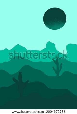Hand drawn green graphic design sunset sun cactus mountains banner. Trendy minimalist abstract landscape illustration. Sahara deser artistic poster template for print, greeting card ui design concept. Zdjęcia stock ©