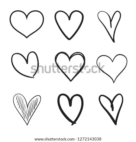 Hand drawn grunge hearts on isolated white background. Set of love signs. Unique image for design. Black and white illustration. Elements for design
