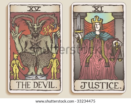 Hand-drawn, grungy, textured Tarot cards depicting The Devil and Justice.