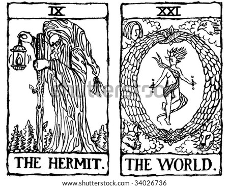 Hand-drawn, grungy, textured Tarot cards depicting The Hermit and The World.