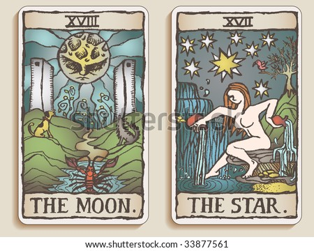 Hand-drawn, grungy, textured Tarot cards depicting the Moon and the Star.