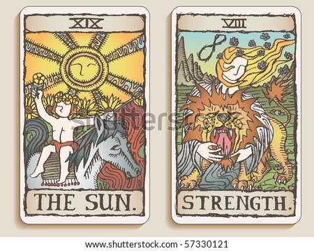 Hand-drawn, grungy, textured Tarot cards depicting the Sun and the concept of Strength.