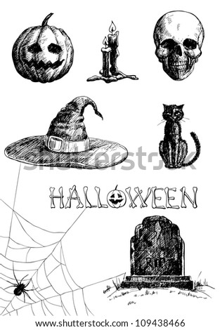hand  drawn halloween related...