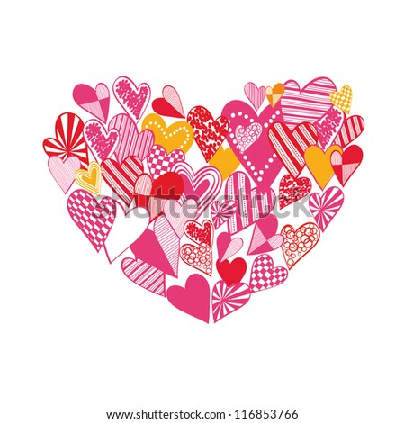 Hand drawn heart silhouette over white background. Raster version of the vector image