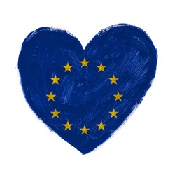 Hand drawn heart with Europe flag.
