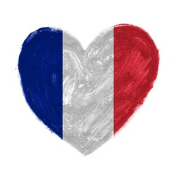 Hand drawn heart with flag of France.