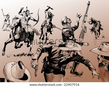 Hand drawn illustration - Far West battle scene among a group of native American warriors and U.S. Army soldiers - Monochrome on brown background