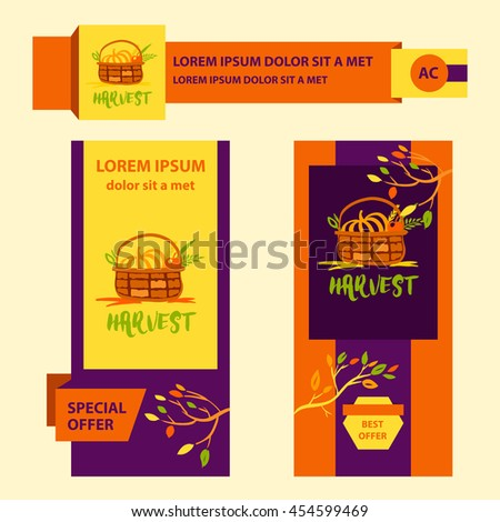 Hand drawn illustration for harvest autumn festival. Sketch style logo and banner with apple, pumpkin for invitation on event, party.  #454599469
