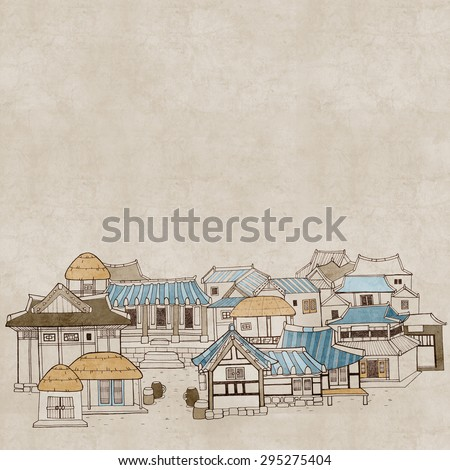 Hand drawn illustration in vintage style featuring traditional houses and buildings called Han-ok. Korean architecture of thatched house and tile-roofed house. Painted in watercolor and with texture.