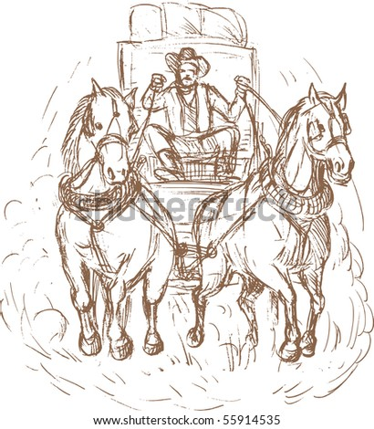 hand drawn illustration of a Cowboy stagecoach driver and horses front view isolated on white. - stock photo