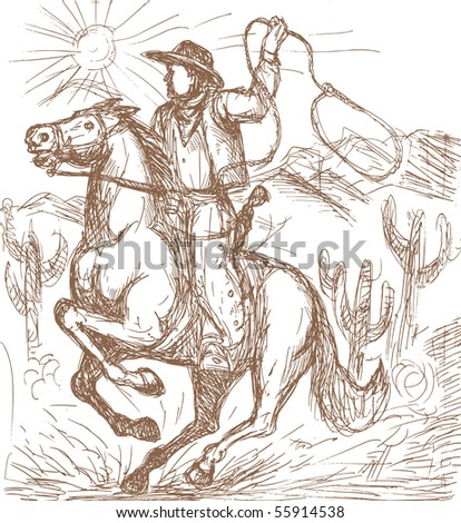 hand drawn illustration of a Cowboy with lasso riding a horse with cactus and mountains in the background. - stock photo