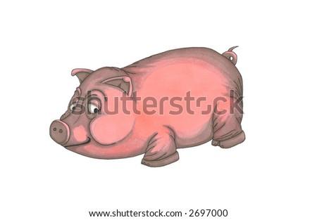Hand drawn illustration of a pig