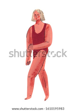 Hand drawn illustration of blond haired girl. Gouache painting depicting young lady in red swimsuit. Drawing of athlete, gymnast or swimmer.