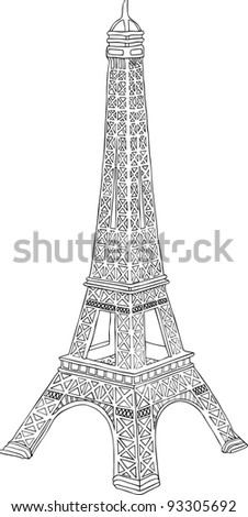 Hand drawn illustration of Eiffel tower in Paris, France - stock photo