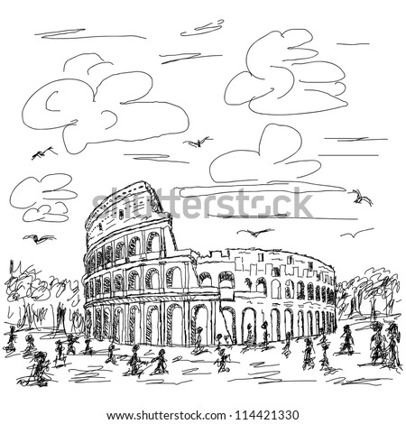 hand drawn illustration of famous ancient tourist destination the colosseum of Rome Italy.