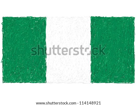 hand drawn illustration of flag of Nigeria