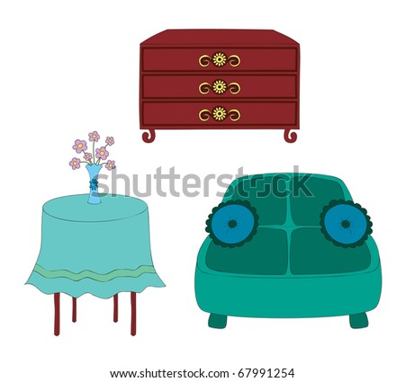 Hand drawn illustration of furniture