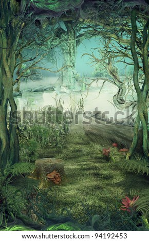 Hand drawn Illustration of Green forest background