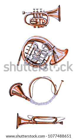 Hand drawn illustration set of stylized music instruments. Pipe, french horn and horn on white background
