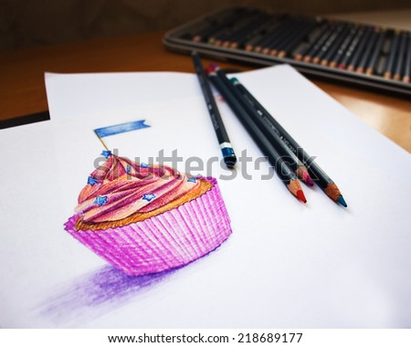 Hand drawn illustration. Sweet cupcake. Muffin and color pencils.